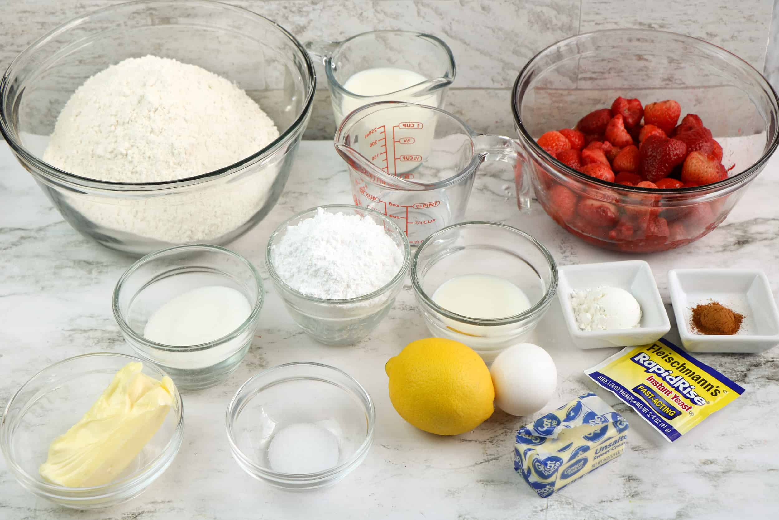 ingredients for strawberry cinnamon rolls