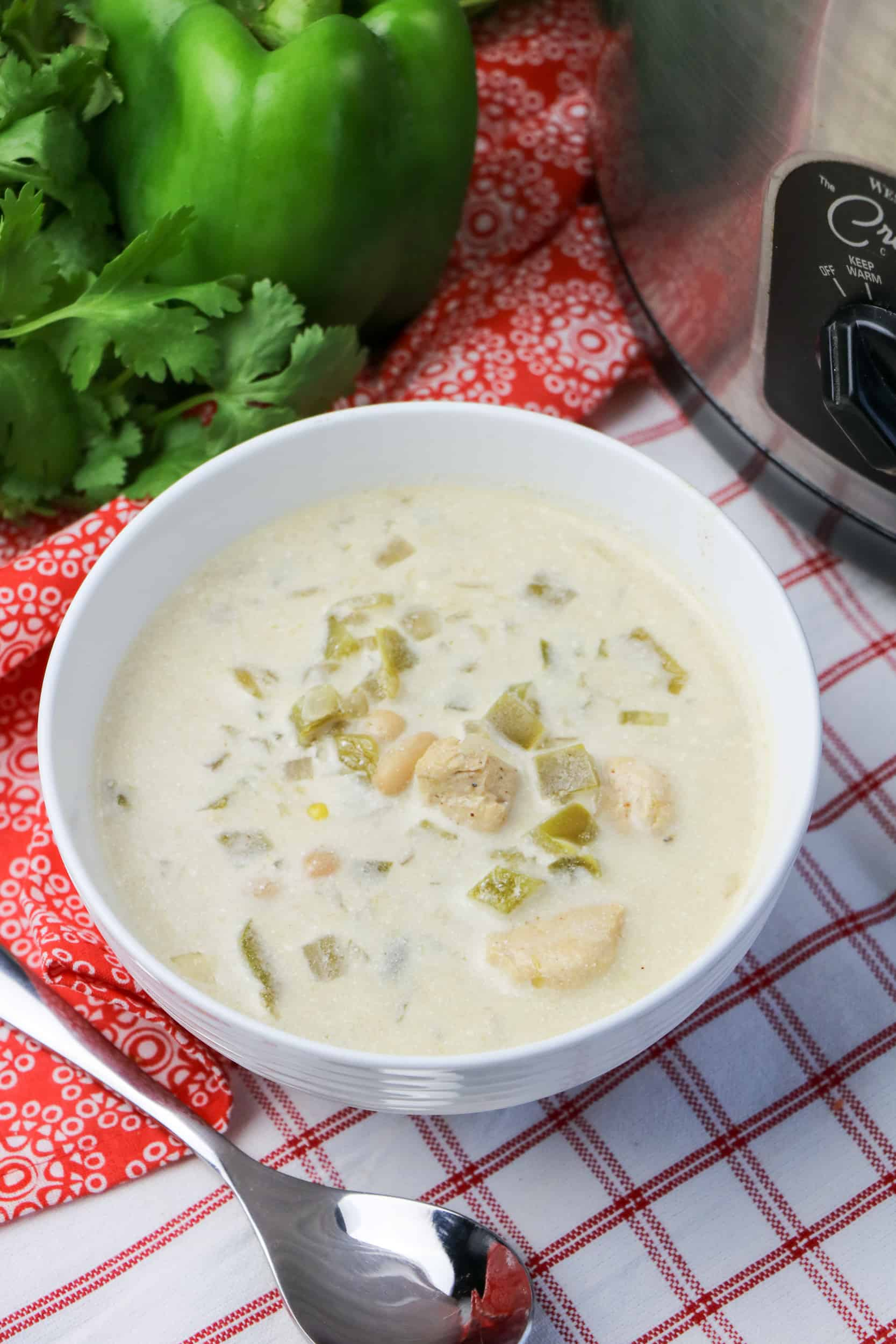 Slow Cooker White Bean and Chicken Enchilada Soup