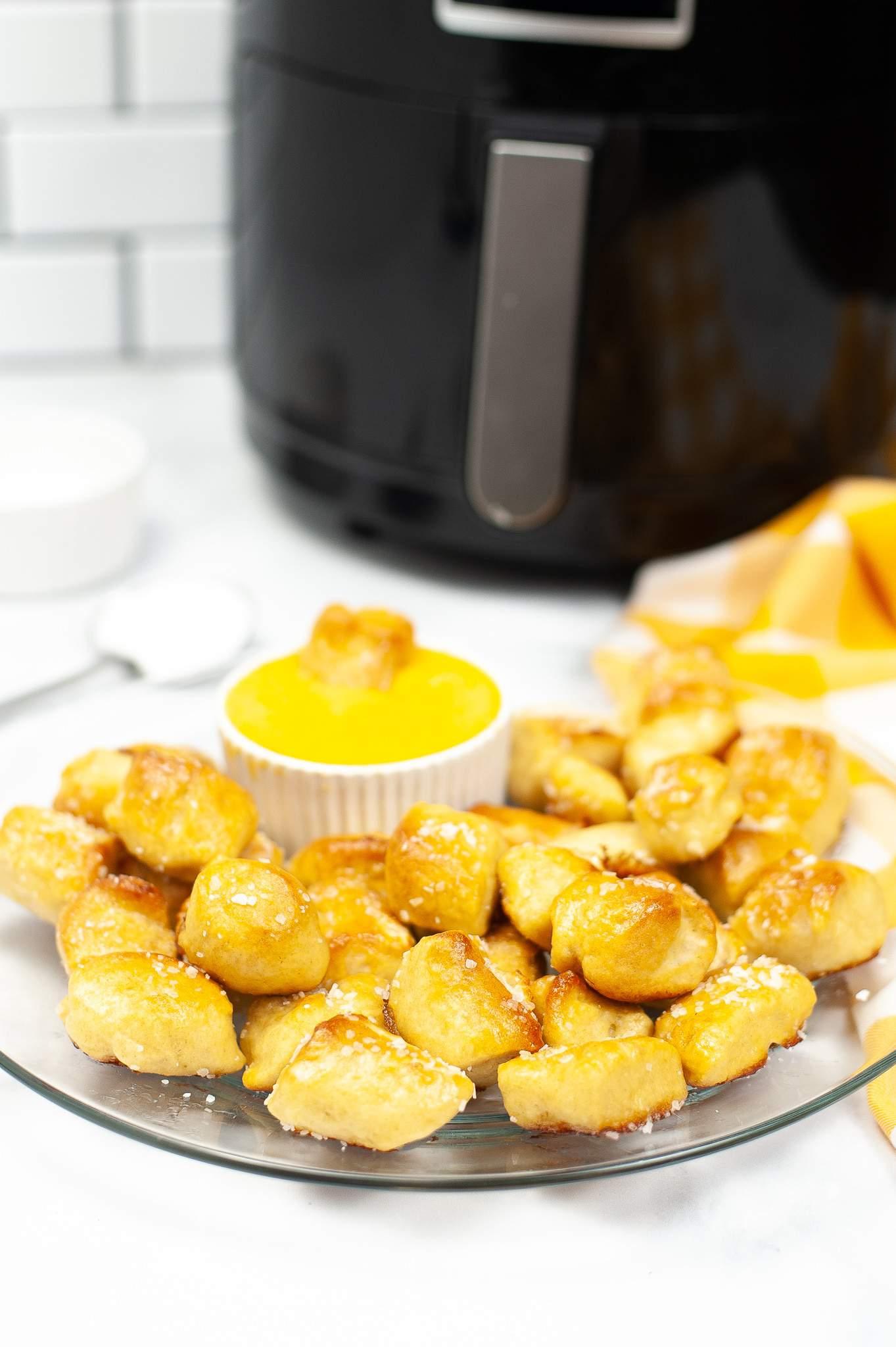 Air Fryer Soft Pretzel Bites on plate