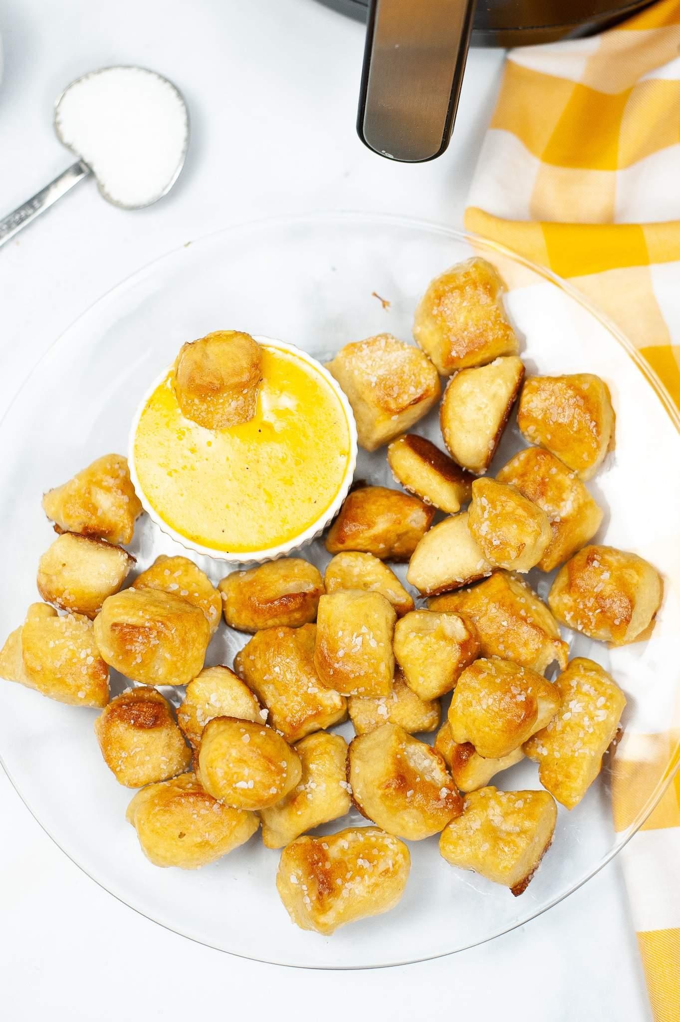 Air Fryer Soft Pretzel Bites batch