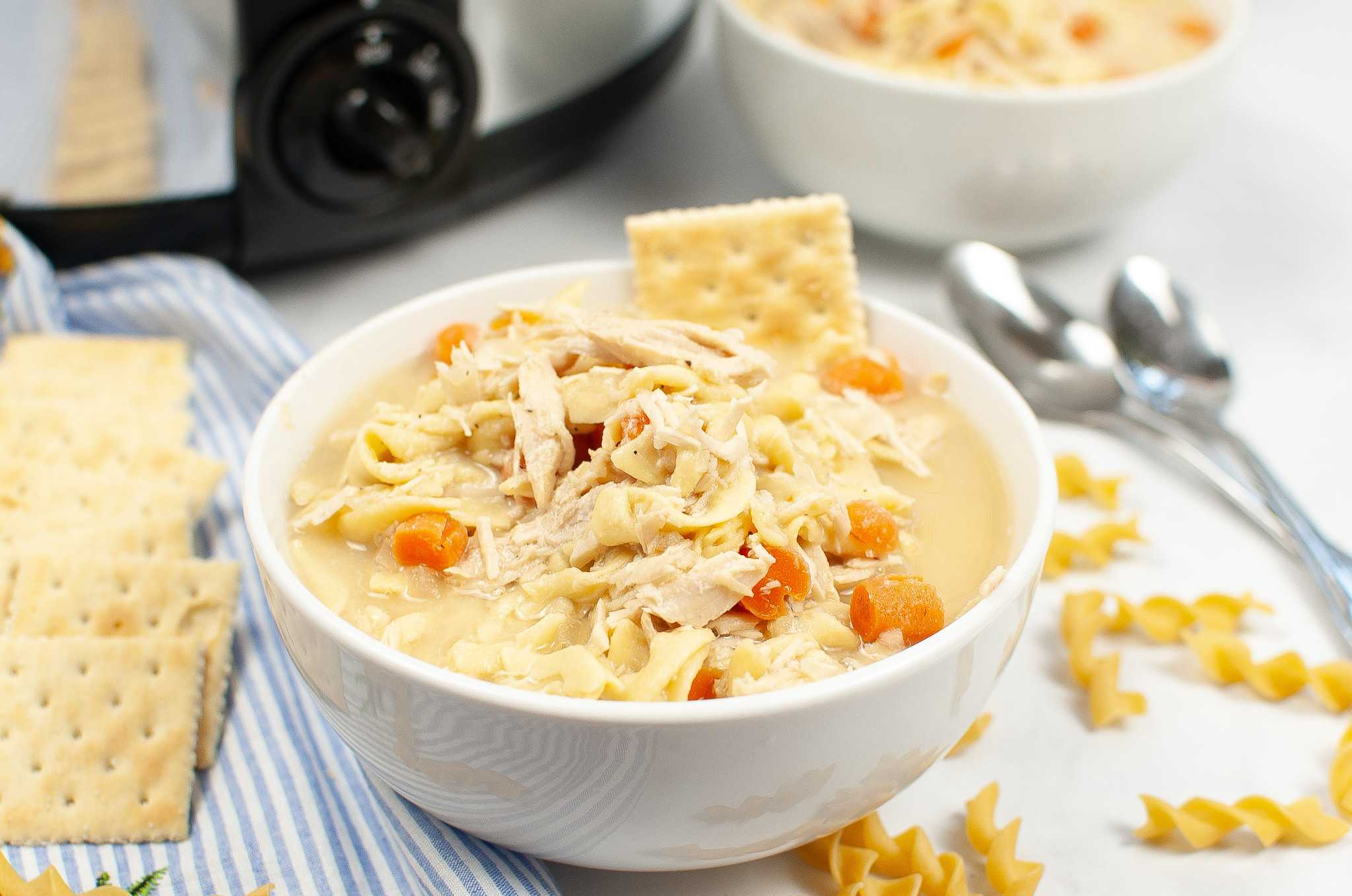bowl of slow cooker turkey noodle soup