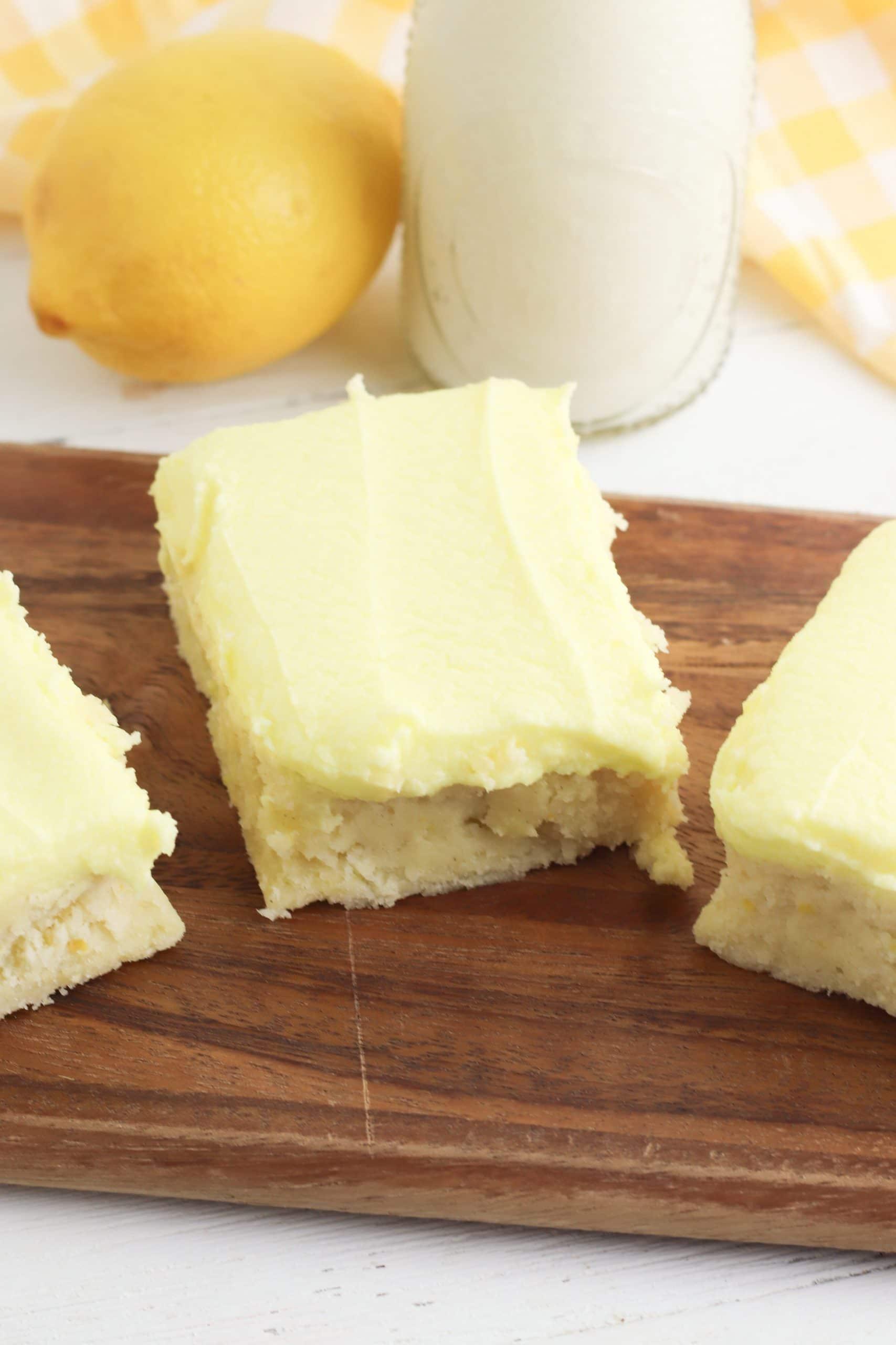 Lemon Cookie Bars and milk