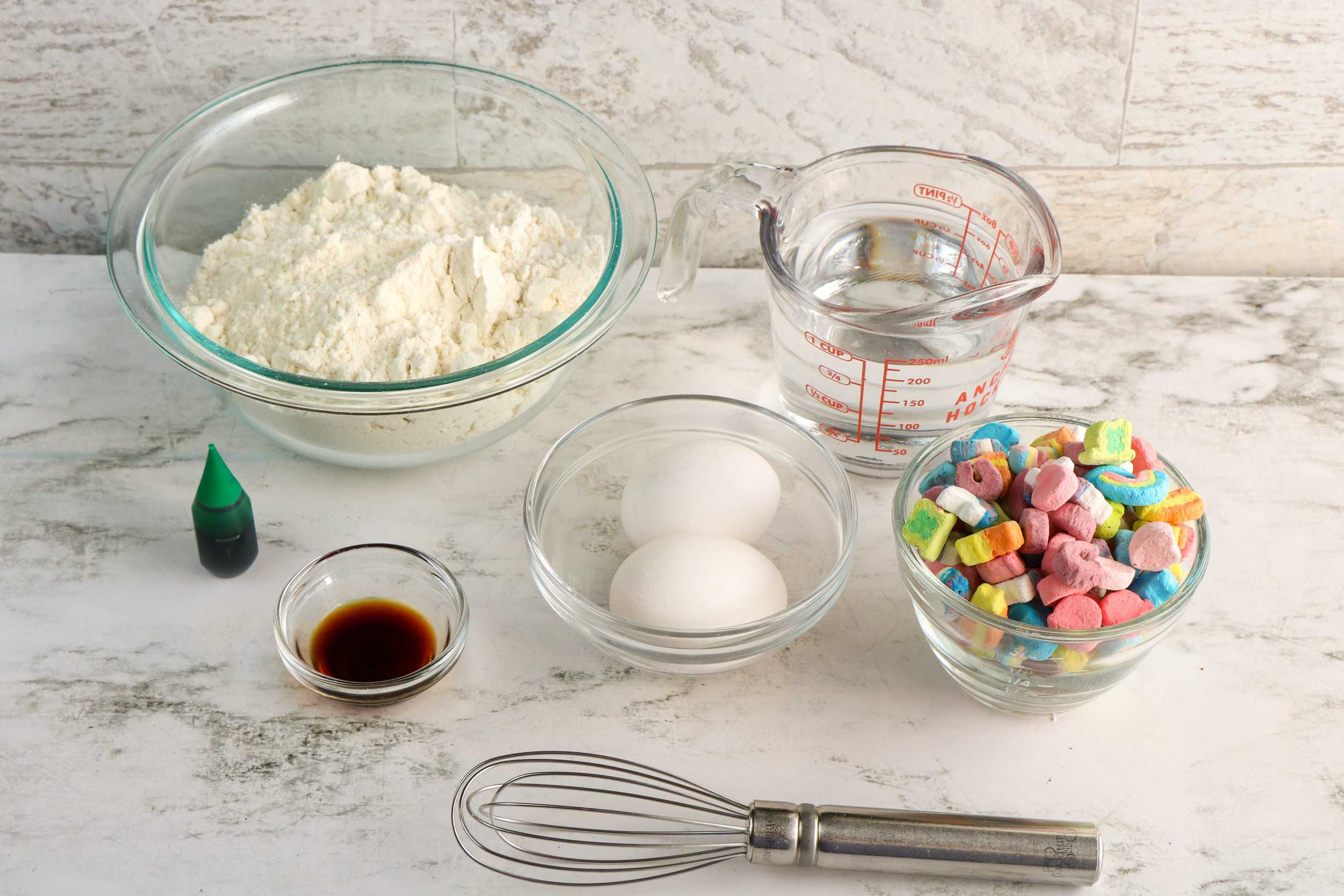 ingredients for Lucky Charms pancakes