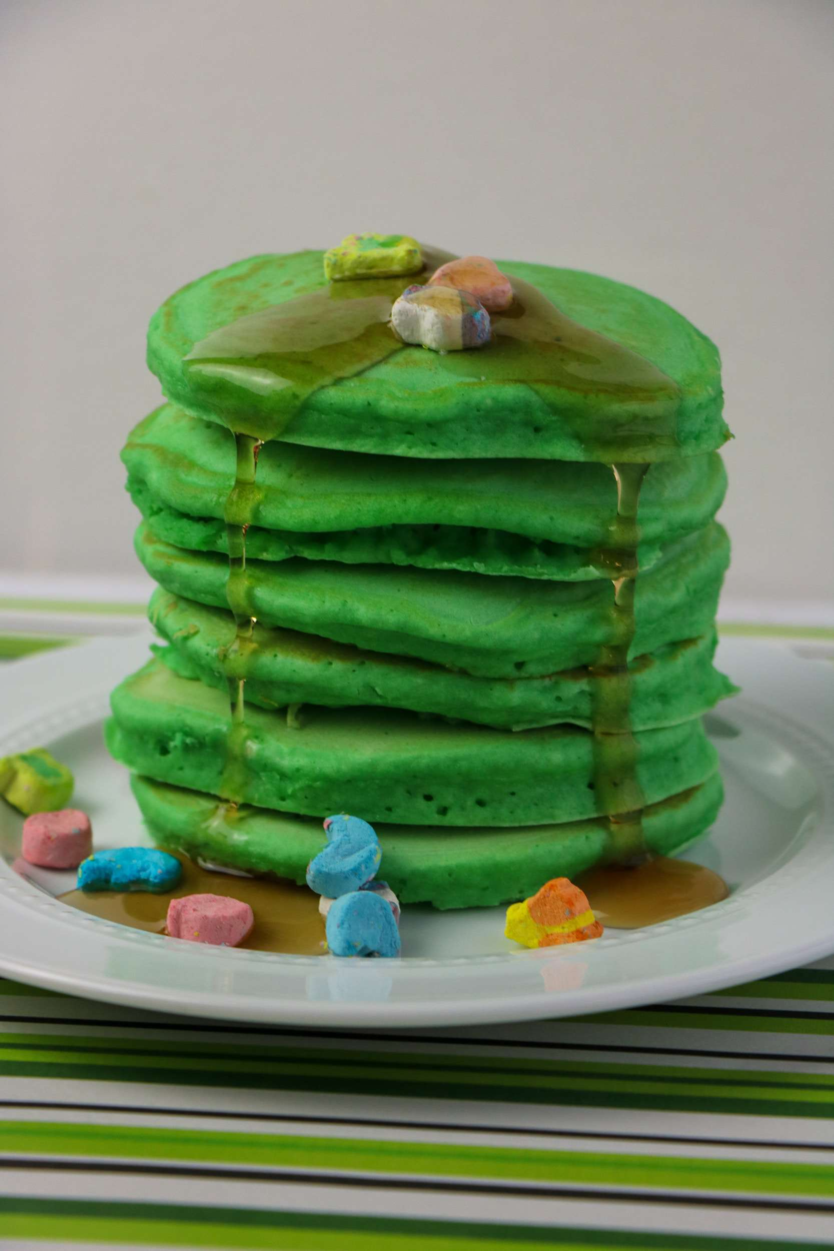 Lucky Charms Pancakes on plate.