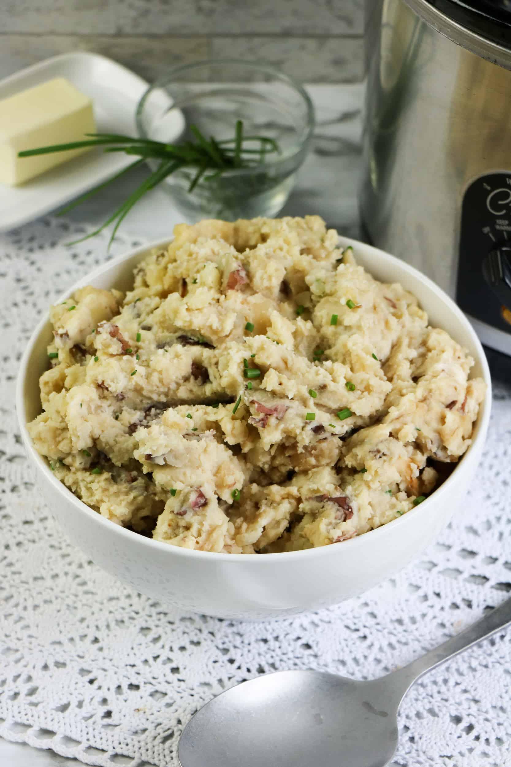 bowl of Slow Cooker Garlic Smashed Potatoes
