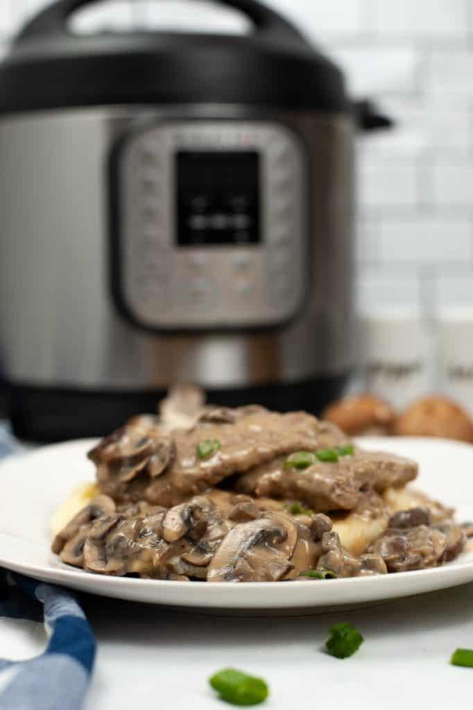 Close up of Instant Pot Salisbury Steak