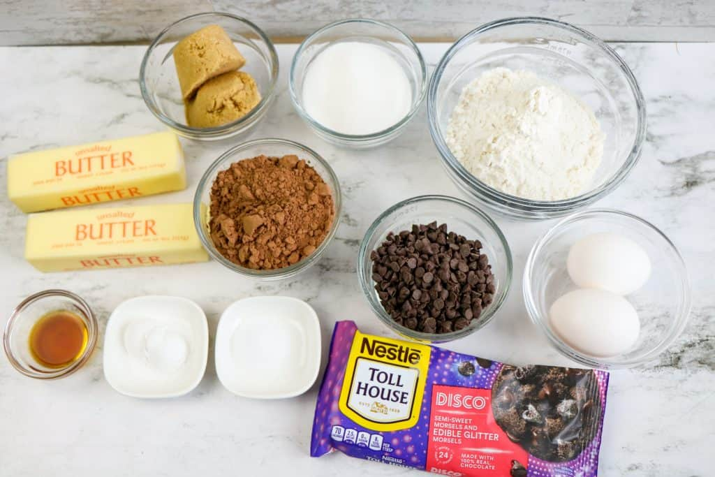 ingredients for double chocolate galaxy cookies