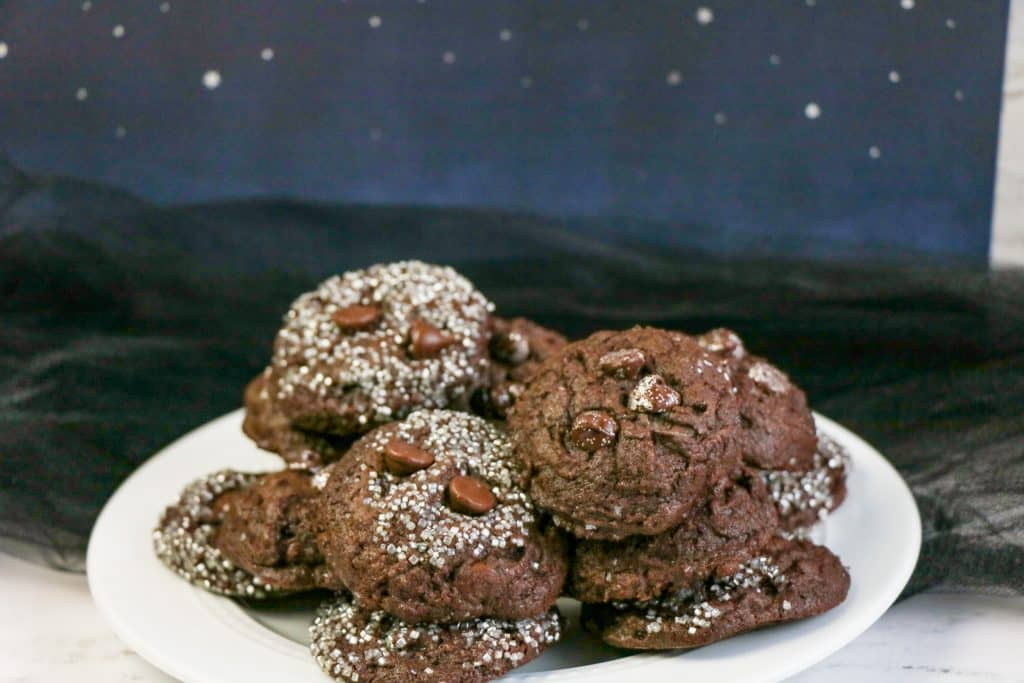 Close Up of Double Chocolate Galaxy Cookies