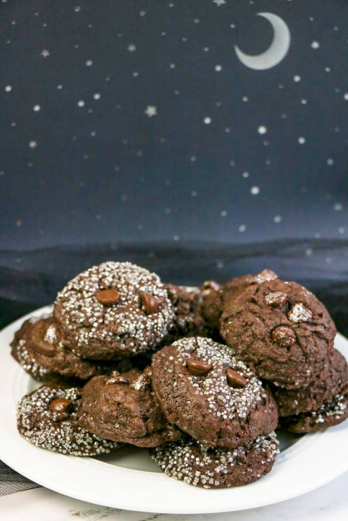 Vertical image of Double Chocolate Galaxy Cookies