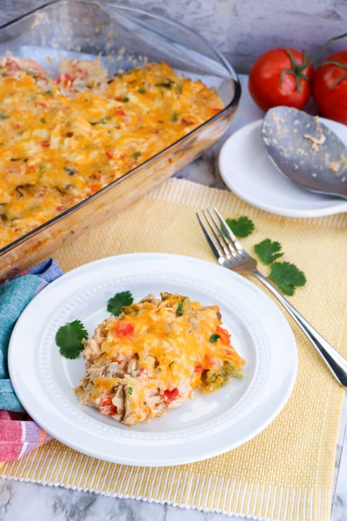 Low Carb Kings Ranch Chicken Casserole on plate
