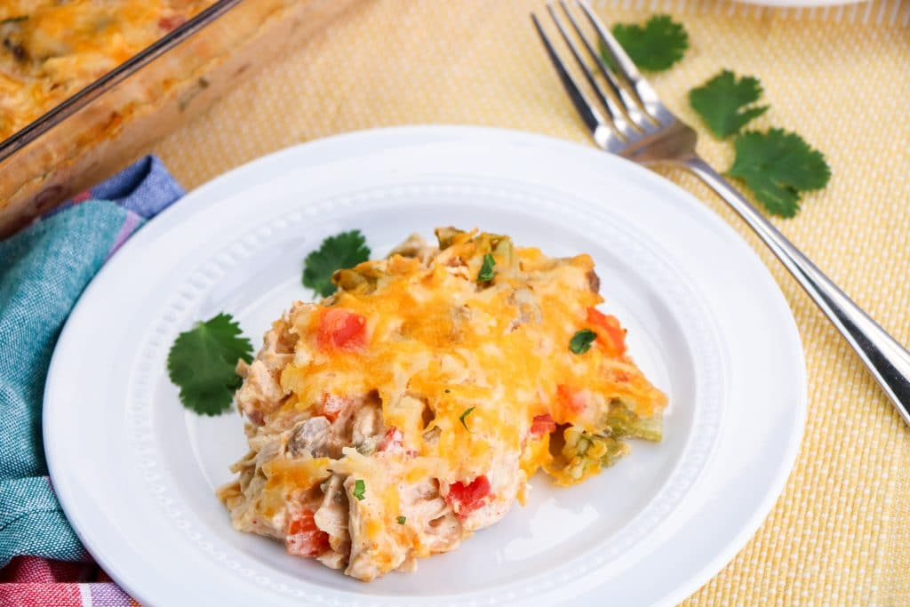 Close Up of Low Carb Kings Ranch Chicken Casserole
