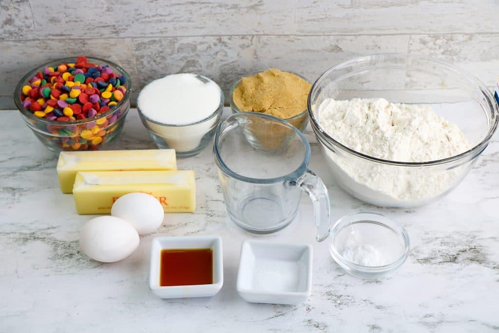 Ingredients for Rainbow Chip Cookies