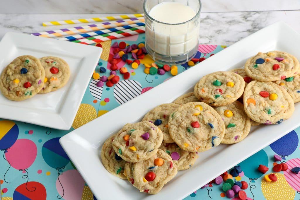Rainbow Chip Cookies on platter