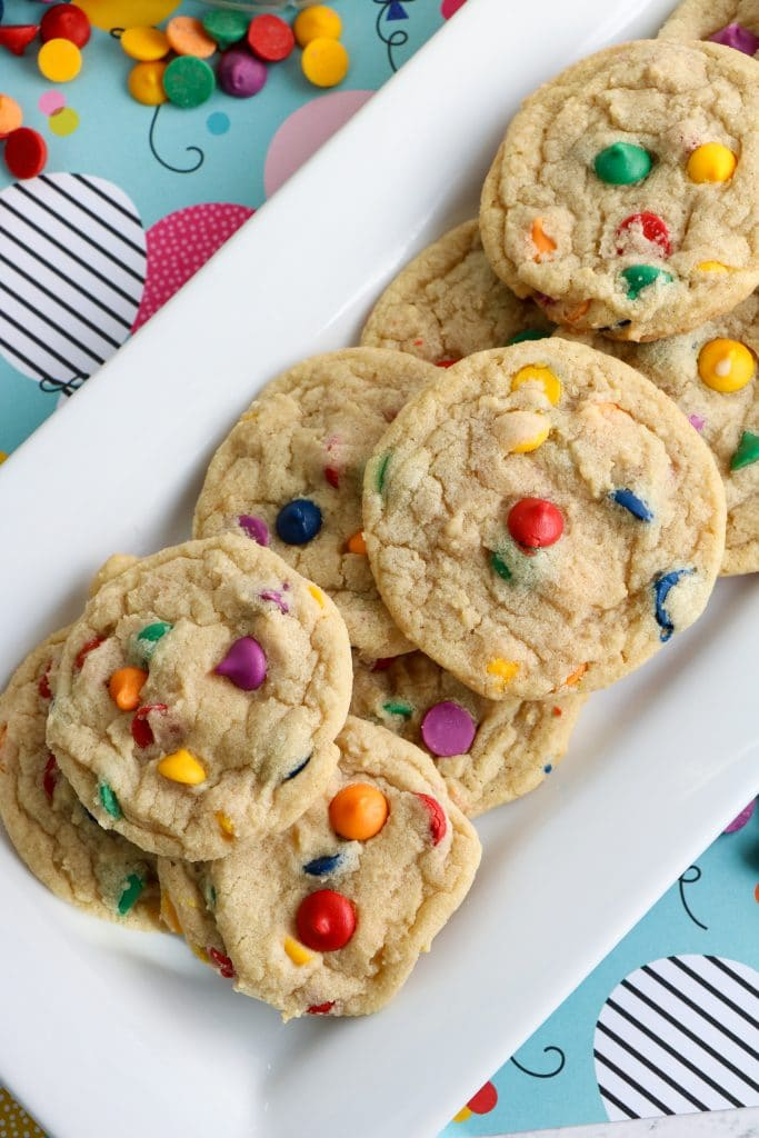 Top view of Rainbow Chip Cookies