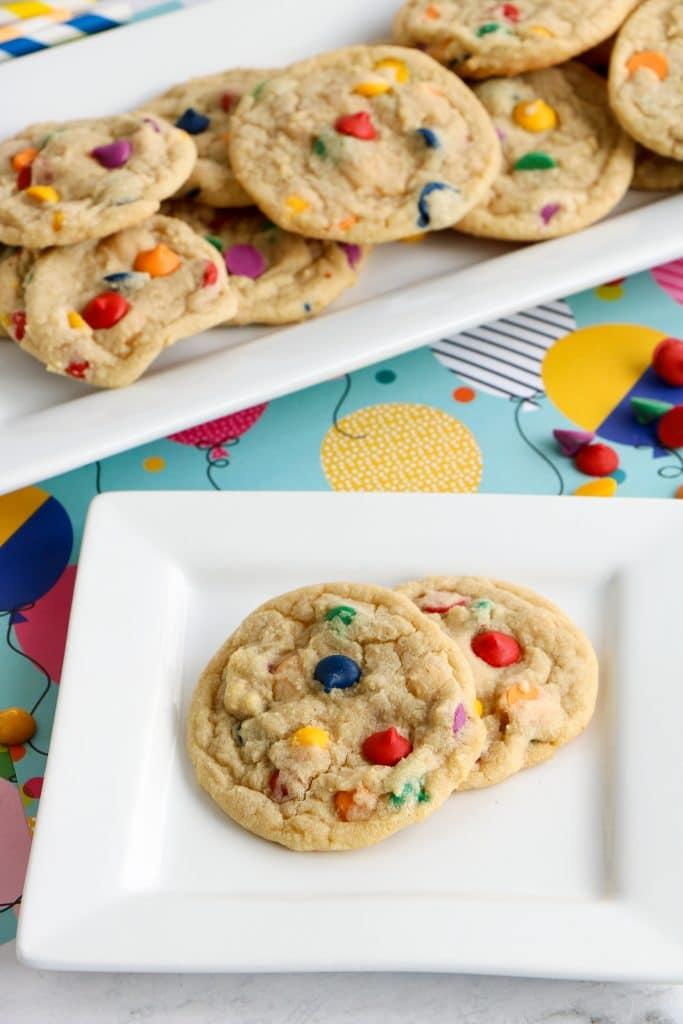 Rainbow Chip Cookies on plate