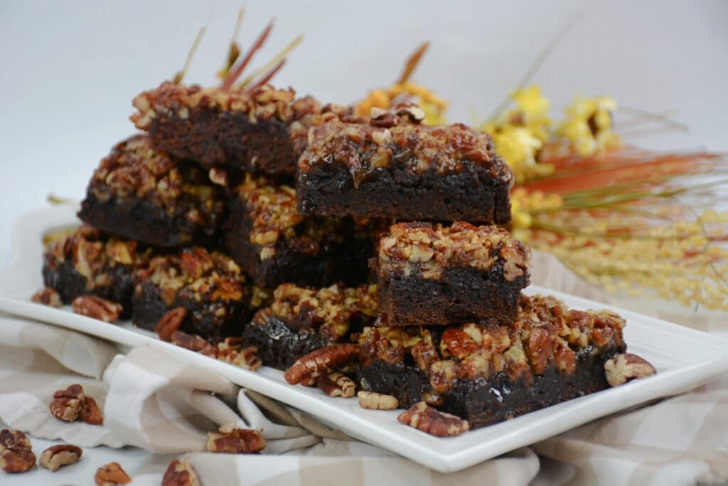 horizontal image of chewy pecan pie brownies