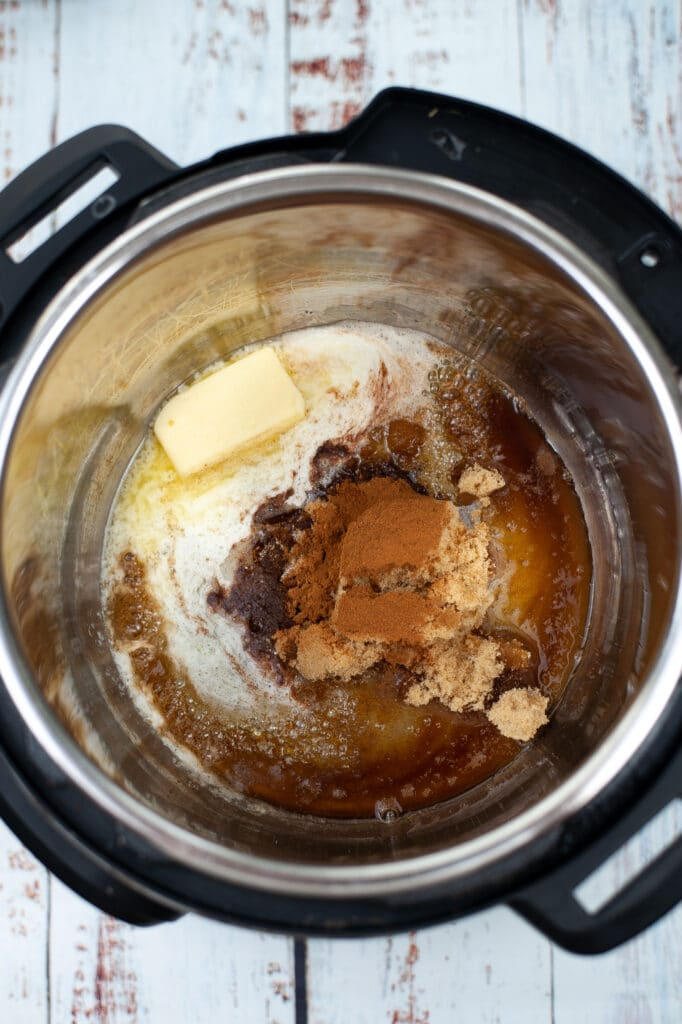 butter, sugar, vanilla extract and cinnamon in instant pot