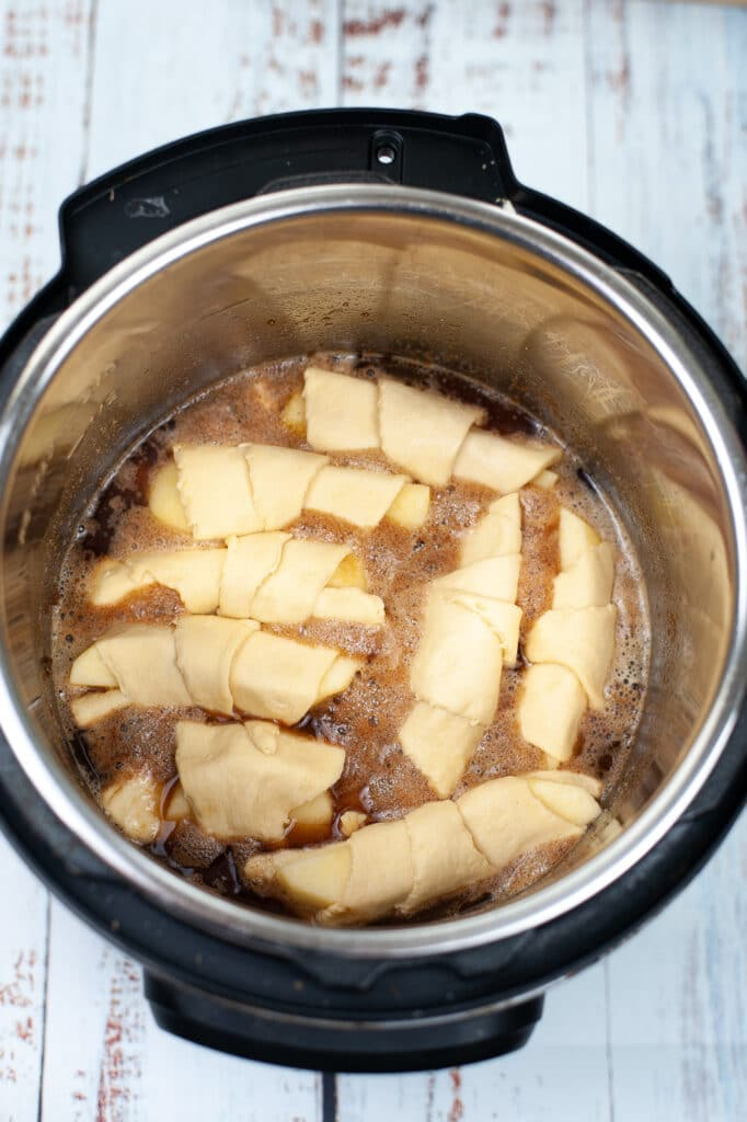 birds eye image of apple dumplings instead of instant pot